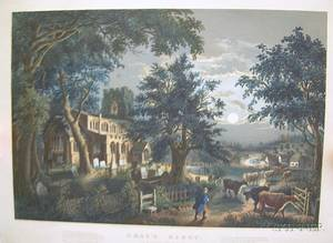 Unframed Large Folio Currier  Ives Grays Elegy In a Country Church Yard