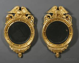 Pair of Classical Giltgesso Carved Girandole Mirrors