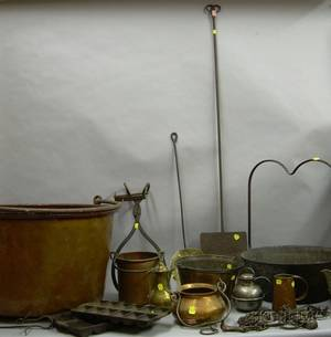 Group of Assorted Copper and Iron Hearth and Domestic Items
