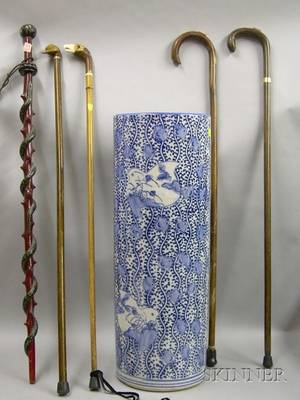 Japanese Export Blue and White Transfer Decorated Porcelain Umbrella Stand with Five Assorted Canes and Walking
