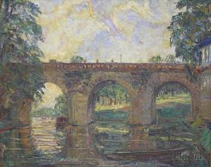 Framed 20th Century French Oil on Canvas Impressionistic Scene of a River Bridge