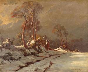 Lot of Two Works Attributed to Leon Launay French b 1890 The Lane in Winter