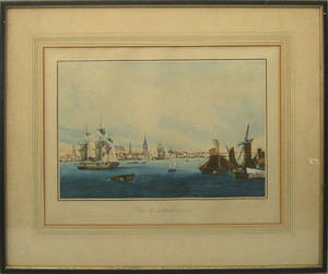 Two color engravings after Garneray of Boston and Philadelphia