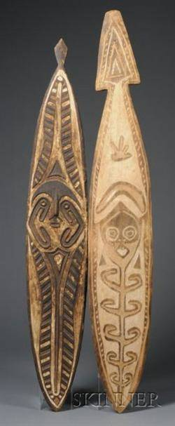 Two New Guinea Carved and Painted Wood Gope Boards