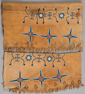 Pair of Native American beaded hide leggings early 20th c