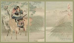 Yoshitoyo II Samurai on Horseback Viewing a Distant Castle Through Foggy Marshes
