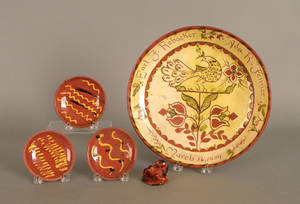 Five pcs of Contemporary redware to include sgraffito charger made for Earl Robacker