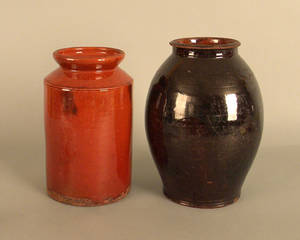 Two redware crocks
