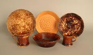 Six pcs of Rockingham glaze pottery
