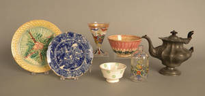 Miscellaneous tableware to include 2 enamel decorated glasses