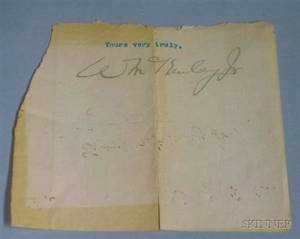 President William McKinley Jr Clipped Autograph