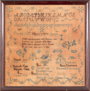 Pennsylvania silk on linen genealogy sampler early 19th c