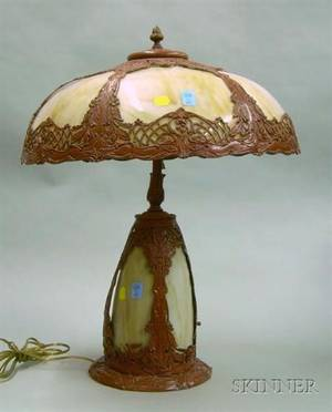 Painted Cast Metal and Slag Glass Bent Panel Table Lamp