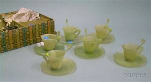 Boxed Set of Six Chinese Jade Cups and Saucers with Six Spoons