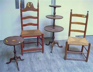 Two Slatback Side Chairs and a Bradford Federalstyle Inlaid Mahogany Candlestand and a Mahogany ThreeTier