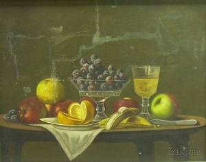 Framed Oil on Canvas Still Life with Fruit and Wine