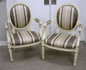 Pair of Louis XV Style Upholstered Carved and Painted Walnut Armchairs