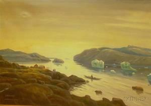 Framed Danish School Oil on Canvas Seascape