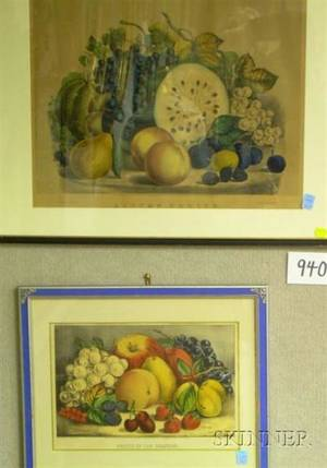 Two Framed Currier  Ives Lithographs of Fruit