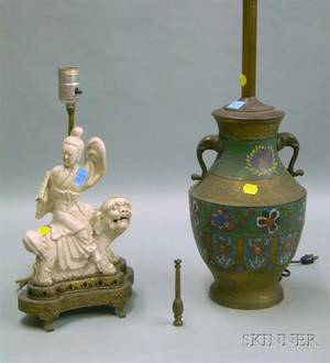 Chinese Champleve Brass Vase Table Lamp and a Giltmetal Mounted Chinese Blanc de Chine Figural Table Lamp