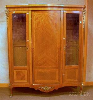 Pair of Louis XV Style Giltmetal Mounted Parquetry Veneer and Wire Panel ThreeDoor Cabinets
