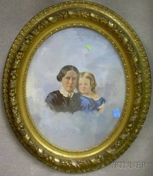 Framed 19th Century American School Mixedmedia with Watercolor and Gouache Portrait of a Mother and Child