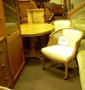 Oak Games Table with Four Rattan Chairs and Two Danish Modern Teak Cabinets