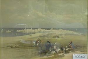 David Roberts British 17961864 Three Prints Jenin Ancient Jezreel Quay at Suez and St Jaen dAcre