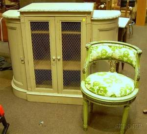 Painted Georgianstyle Carved Wood and Wire Panel Dshaped Side Cabinet and a Painted Louis XVI Style Upholstered Carved Walnut Chair