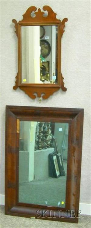 Mahogany Veneer Ogee Mirror and a Reproduction Chippendale Mirror