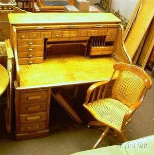Late Victorian Oak Rolltop Double Pedestal Desk and Caned Oak Swivel Desk Chair