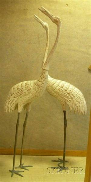 Pair of Carved and Painted Wood and Metal Standing Cranes