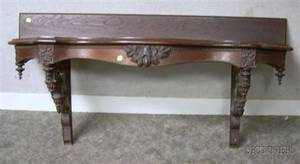 Victorian Renaissance Revival Carved Walnut Serpentine Wall Console Table