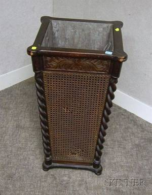 Paine Furniture Late Victorian Caned Carved and Barleytwist Turned Umbrella Stand