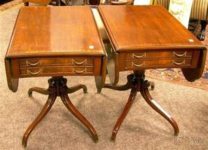 Pair of Regencystyle Inlaid Carved Mahogany and Mahogany Veneer Dropleaf Tables with End Drawers