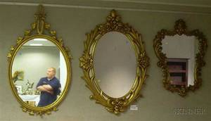 Two Rococostyle Giltwood and Gesso Mirrors a Neoclassicalstyle Oval Mirror and a Giltgesso Mirror