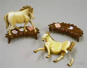 Pair of Chinese Carved Ivory Horse Figures