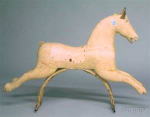 Whitepainted Wooden Childs Riding Horse Figure