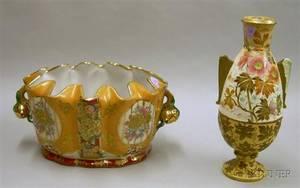 Chinese Satsuma Porcelain Monteithform Bowl and a Royal Bonn Floral Decorated Ceramic Vase