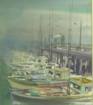 Framed 20th Century American Watercolor Boats at Dock