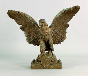 Impressive bronze spread winged eagle architectural element late 19th c