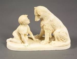 Victorianstyle Molded Marble Composite Figure of a Boy and Dog