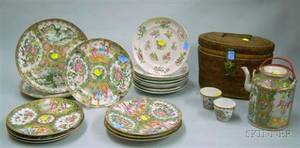 Seventeen Chinese Export Porcelain Plates and a Threepiece Rose Medallion Tea Set in a Fitted Basket