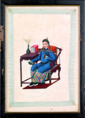 Set of four Chinese rice paper portraits 19th c