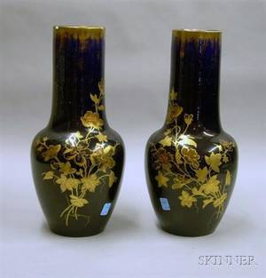 Pair of Gilt Decorated Cobalt Blue Glazed Ceramic Vases