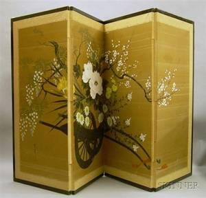Japanese Handpainted Floral Decorated FourPanel Folding Screen