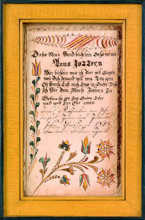 Southeastern Pennsylvania ink and watercolor fraktur bookplate dated 1815