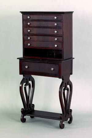 New England Federal mahogany specimen cabinet ca 1840