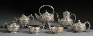 Seven Piece Gorham Sterling Repousse Tea and Coffee Service