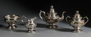 Four Piece Federal Coin Silver Tea Service